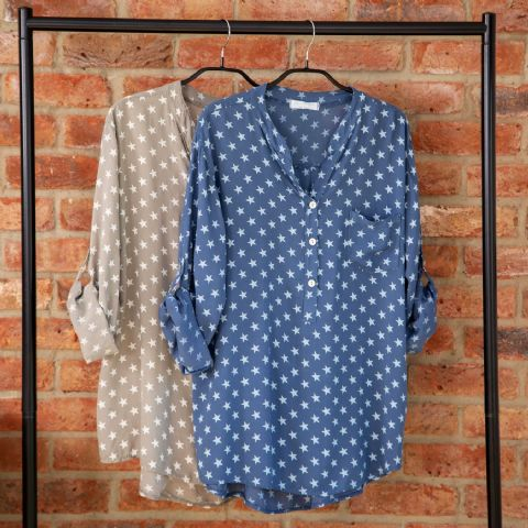 LIGHTWEIGHT STAR SHIRT BLUE